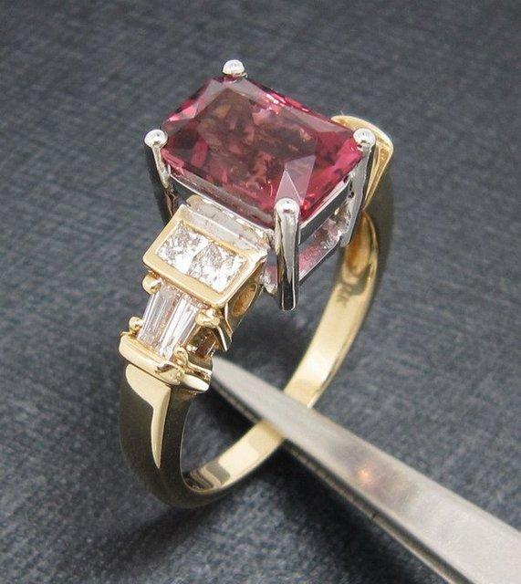 ¡ Promoción!! Charming! 2.30CT sólido 14 k Multi-tono Oro Natural Turmalina y Diamantes de La Joyería