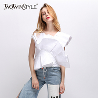 TWOTWINSTYLE Strapless Ruffles Shirt For Women Striped Off Shoulder High Waist Irregular Shirts Female Spring Fashion Clothing
