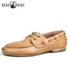 Zapatos de barco estilo británico Vintage de calidad superior de los hombres zapatos de cuero Natural Casual de encaje zapatos de conducción de moda mocasines