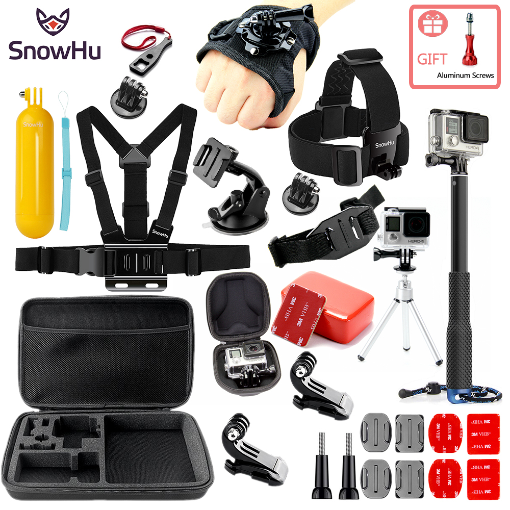 SnowHu For for action camera Accessories Set for go pro hero 7 6 5 4 kit selfie stick for Eken/ for xiaomi for yi EVA case GS80