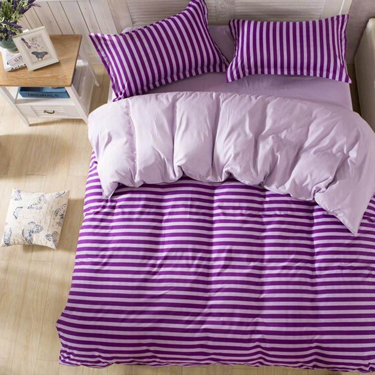 Single Double King Size Purple Stripe Printed Bedding Sets Polyester  Pillowcases Quilt Duvet Cover Bed Sheet