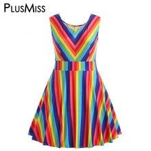 dac79a63612 PlusMiss Plus Size 5XL Rainbow Striped Print Vintage Tank Swing Dress Women  Sleeveless Party Dress Sundress Big Size Summer 2018