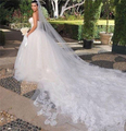 White/Ivory Beautiful Cathedral Length Lace Edge Wedding Bridal Veils With Comb 4 Meters Long Bridal Veil Voile Mariage