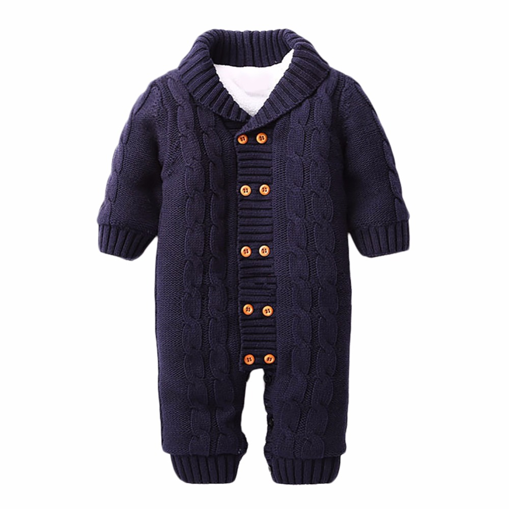 New Baby Rompers Winter Thick Climbing Clothes Newborn Boys Girls Warm Romper Knitted Sweater Solid Pattern Hooded Outwear 2017 baby jumpsuits winter overalls deer kinitted rompers climbing clothes sets for newborn boys girls costumes hooded sweater