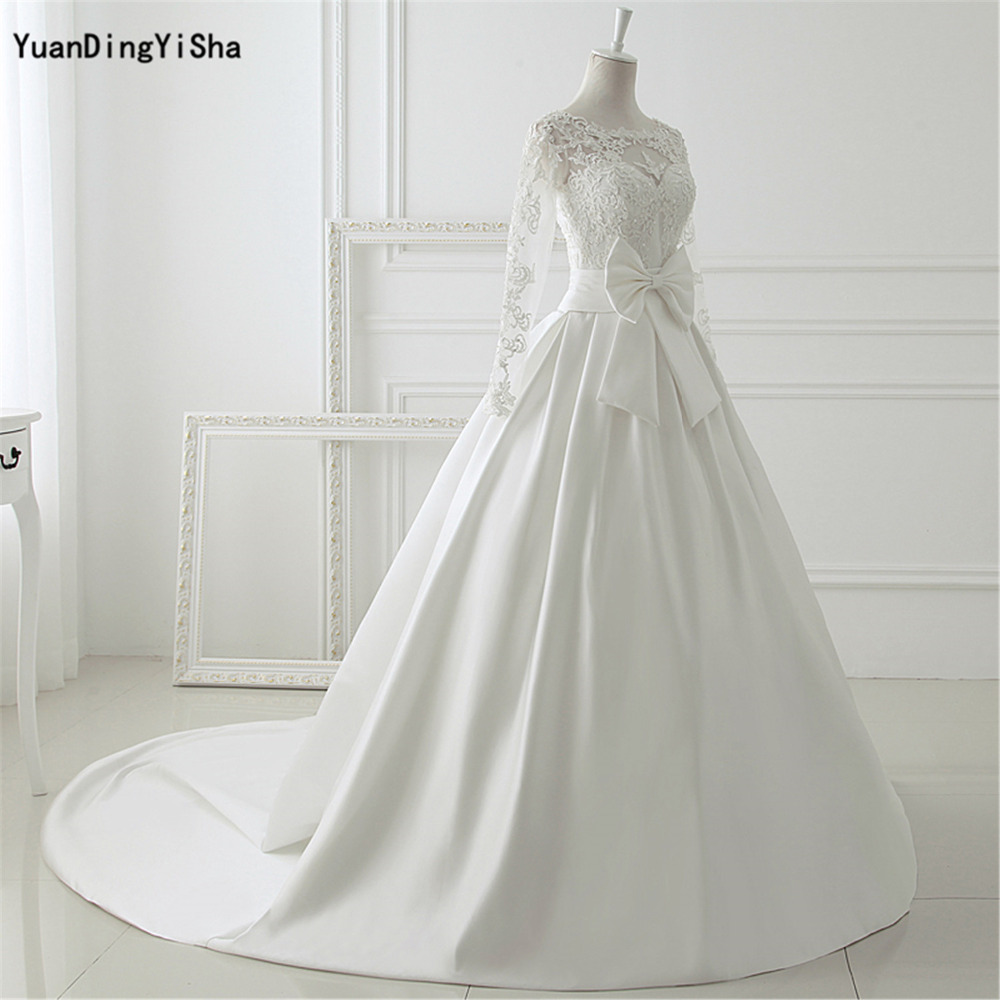 Real Picture Elegant Ivory Lace Wedding Dresses Long Sleeves Satin ...