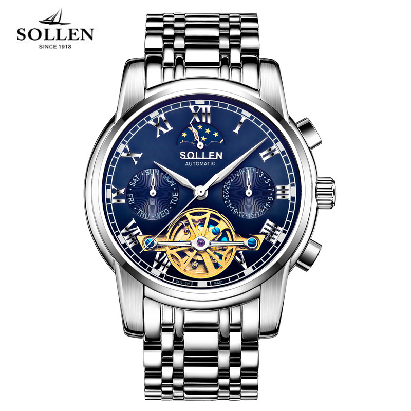 Men Watch SOLLEN Brand Luxury Tourbillon Automatic Mechanical Watches Multifunction clock Full Stainless Steel Montre Homme 804