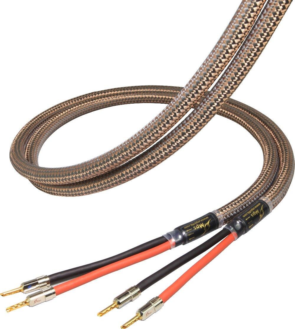 MPS E-330SP MK2 HiFi 99.99997% OCC 24 K chapado en oro del altavoz de banano enchufe conector bi cable del altavoz cable de audio amplificador 1 par