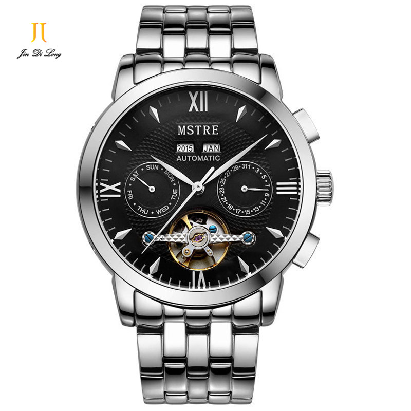 Brand MSTRE Fashion Classic Watch Men s Business Casual Auto Self Wind Wristwatches Tourbillon Day Date