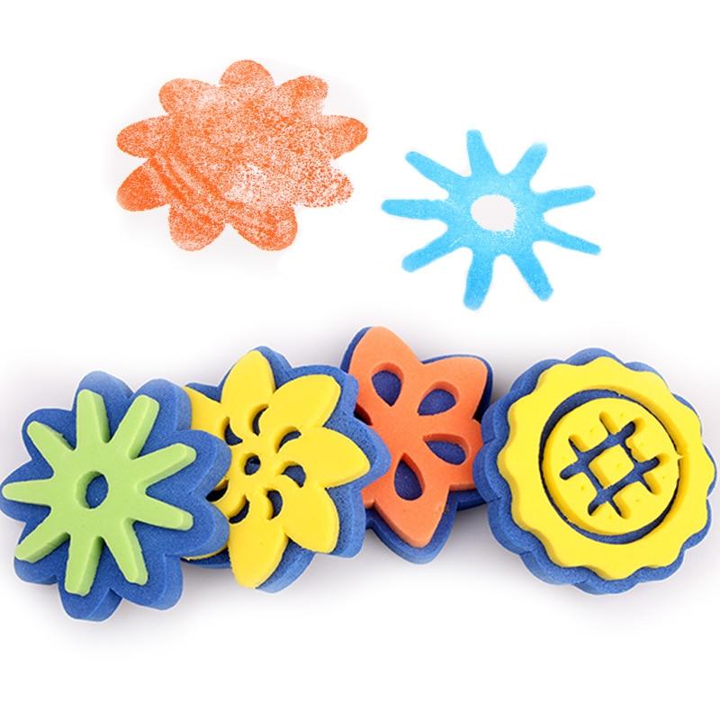 4Pcs/set Sponge Paint Brush Wooden Handle Painting Graffiti Kids DIY Doodle Toys Art Children's Painting Tool Drawing Toys Gift