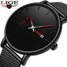 LIGE Sports Date Mens Watches Top Brand Luxury Waterproof Sport Watch Men Ultra Thin Dial Quartz Watch Casual Relogio Masculino top luxury brand julius men watches ultra thin full genuine leather clock waterproof casual sport watch men quartz watch relogio