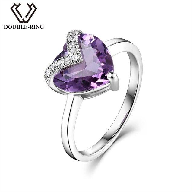 DOUBLE-RING Fine Jewelry Bijouterie 925 Sterling Silver Amethyst Heart Rings Women Wedding Promise Love Gift Rings CASR00764A
