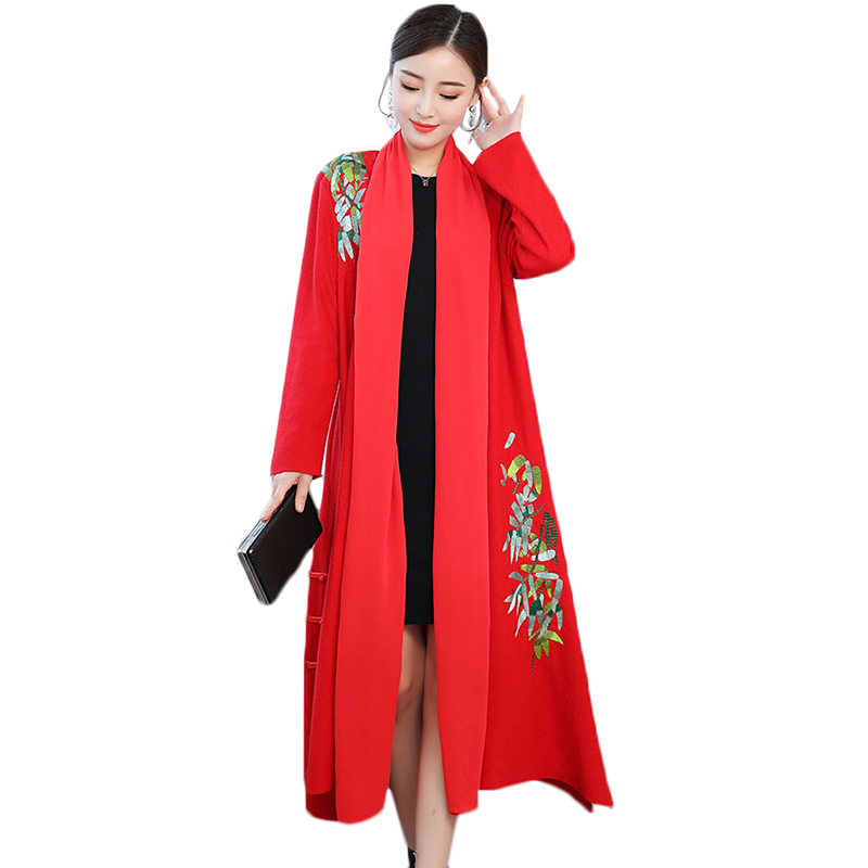 2019 Spring Autumn   Trench   Coat Women Traditional Chinese Clothing Embroidery Loose Long windbreaker Fashion Stitching Overcoat
