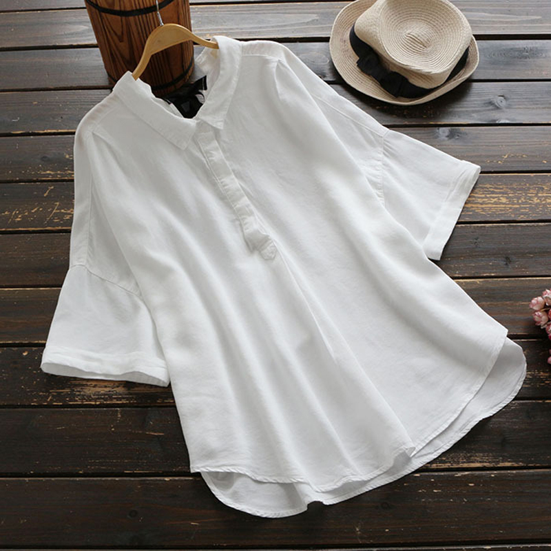 YSMILE Y Summer Sweet Solid Women Shirt Rear Collar Tie Loose Blouse Turn-down Collar Short Sleeve Comfortable Tops For Female