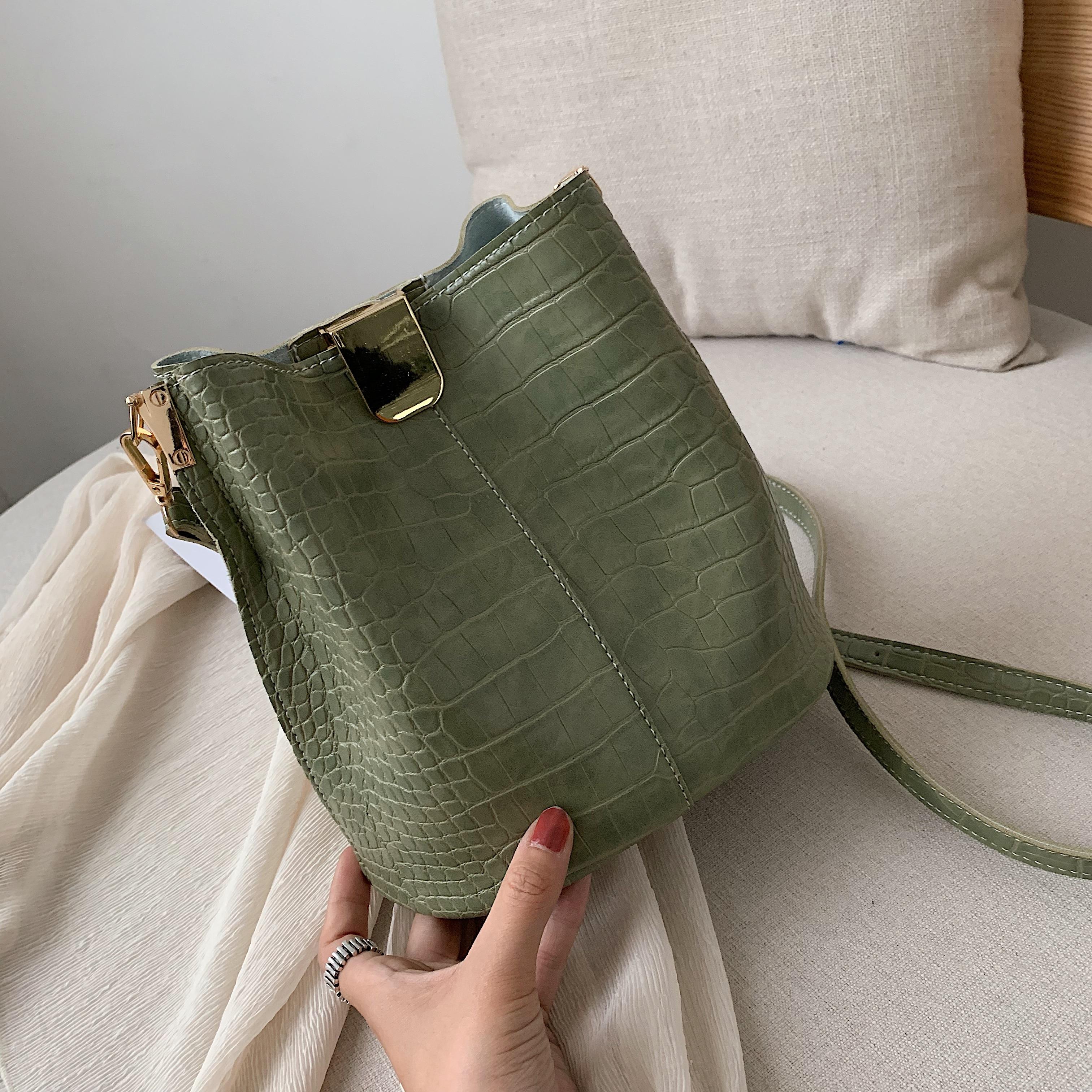 Crocodile Pattern PU Leather Bucket Crossbody Bags For Women Small Summer Messenger Shoulder Bags Ladies Travel Handbags