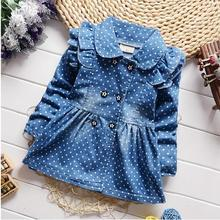 2016 spring new Korean children girls lovely polka dots denim jacket female baby cotton jean lapel coat kids emperament outfits