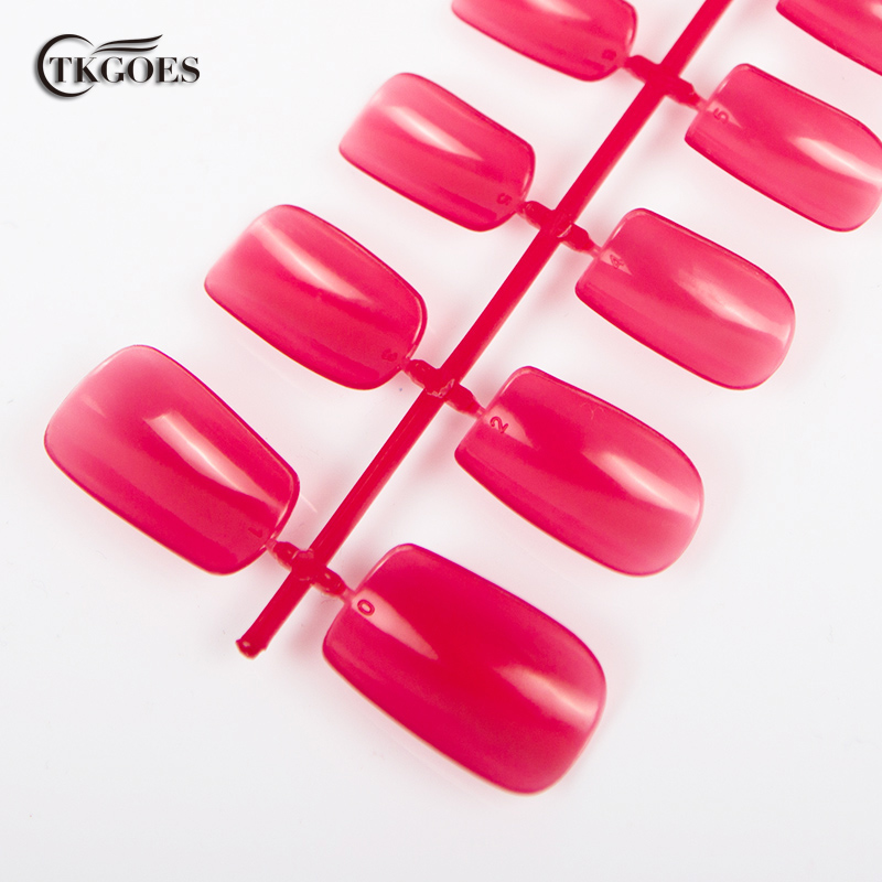 TKGOES 600 PCS Acrylic Fake Nails Rose Red nail tips Full Cover ...