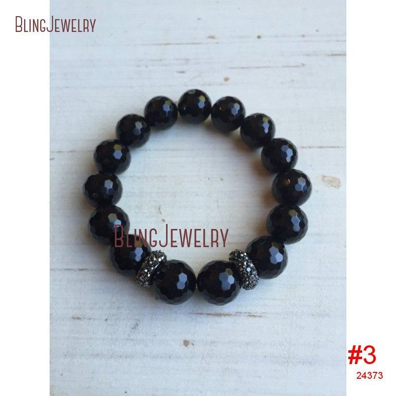 Ограненный черный оникс серого цвета со стразами Оз со стразами овальный браслет BM19973 - Окраска металла: BM24373