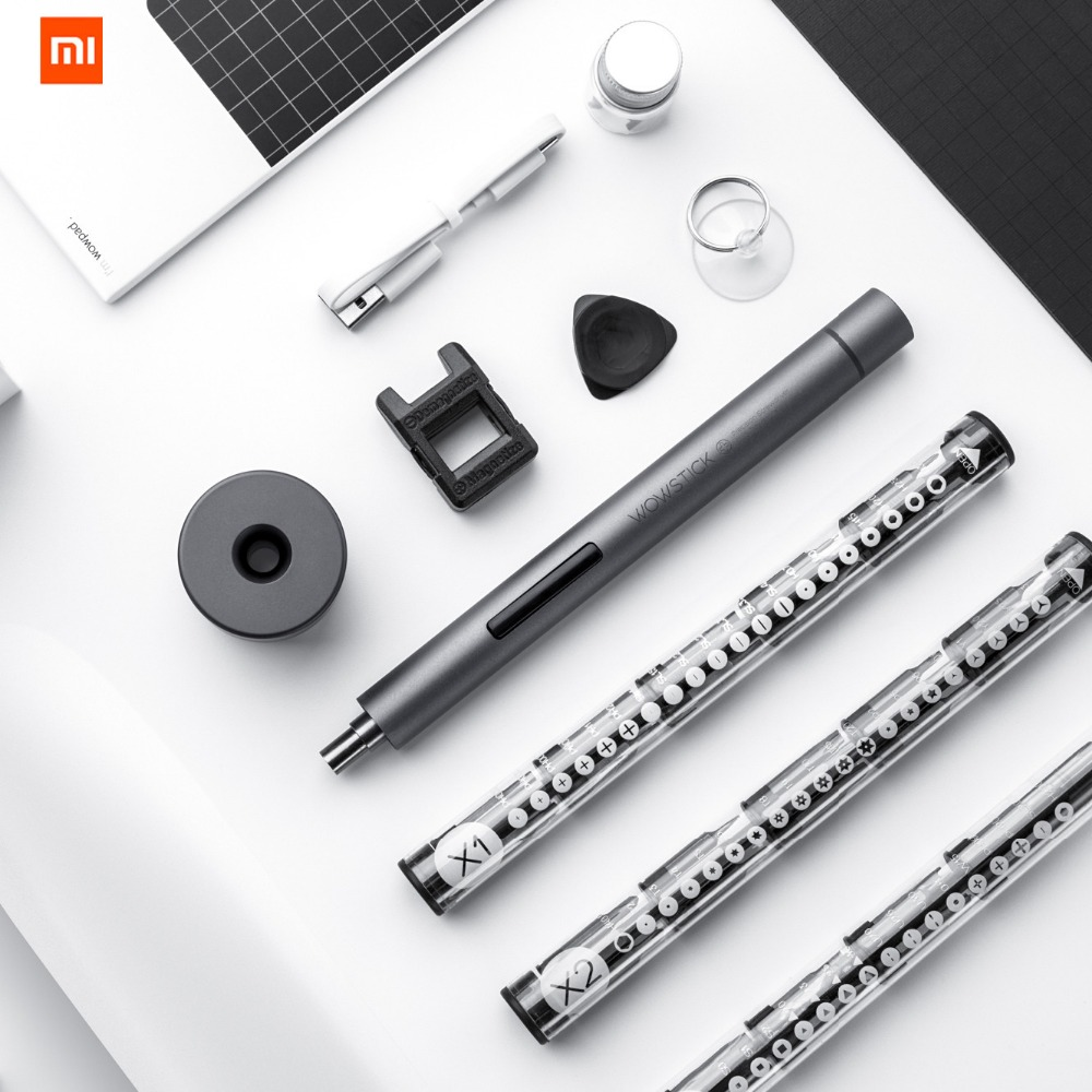 Original XIAOMI Mijia Wowstick 1F + 64 1 tournevis Mi, sans fil lithium ion chargé alimentation LED vis Mijia kit d'entraînement