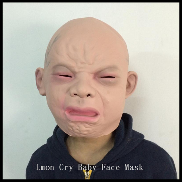 latex disgusted happy cry baby costume mask halloween full head