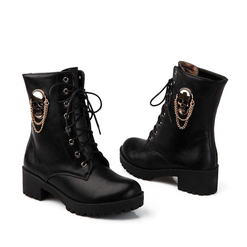Image 2 - MORAZORA 2019 hot sale ankle boots for women skull street lace up platform women's boots fashion ladies autumn winter boots shoe-in Ankle Boots from Shoes