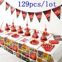 High Quality Disney Cars 129Pcs/lot Cup+Plate+Napkin+Horns+Banner Kid Birthday Lightning McQueen Tableware Set Decoration Supply