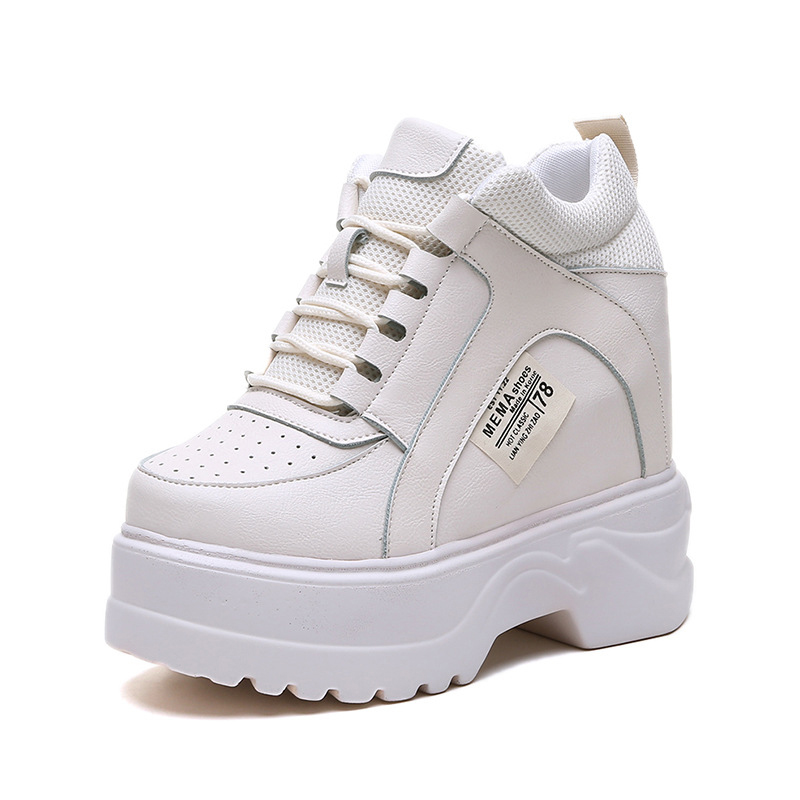 Womens Vulcanize Shoes Spring White Chunky Sneakers For Woman Hidden Heel Shoes 2019 Super High Heels Female Platform SneakersWomens Vulcanize Shoes Spring White Chunky Sneakers For Woman Hidden Heel Shoes 2019 Super High Heels Female Platform Sneakers