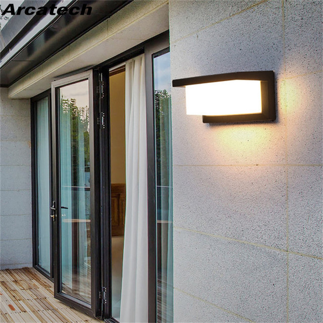 Led Outdoor Wall Lamp Modern 10w 15w Light Aluminum Garden Porch Patio Aside Front