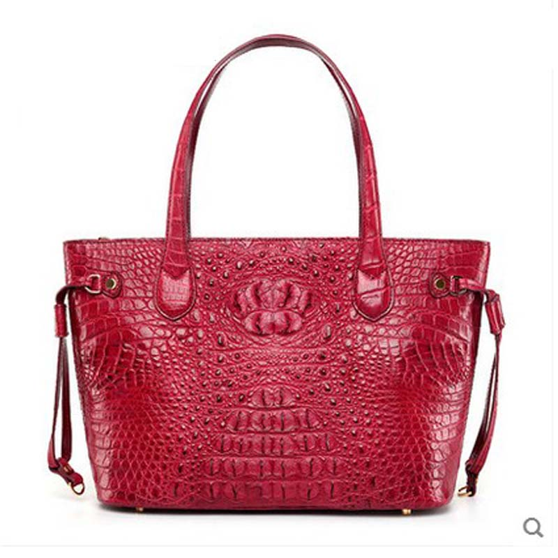 hlt 2017 new Thai crocodile leather women handbag female dermal teapot, simple leather and simple shoulder tote bag 2018 hlt new crocodile leather handbag female dermal fashion fashion bag bag shoulder bag for european and american parties