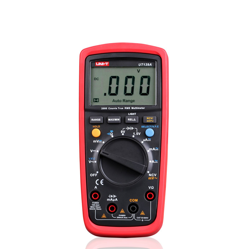 2016 UNI-T UT139A True RMS Digital Multimeter Auto Range AC/DC Amp/Volts Ohm Tester with Data Hold, NCV,and Battery Test