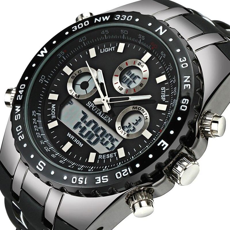 Watch Men Sport Digital Military Army Male Clock Brand SPOTALEN Waterproof Date Calendar LED Electronic Watch