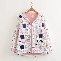 Spring Autumn Casual Japanese Style Girls Cute Cartoon Cat Printed Women Long Sleeve Zipper Hooded Jacket