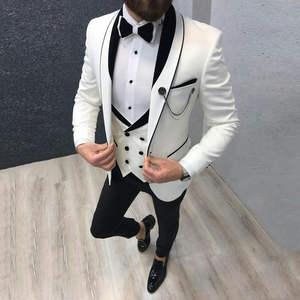Coat Pant Costume Tuxedo Blazer Wedding-Suit Groom Slim-Fit White Designs Latest Terno