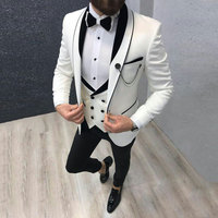 Latest Coat Pant Designs White Men's Classic Suits for Wedding Handsome Groom Tuxedo Slim Fit Terno Masculino Prom Party 3Piece