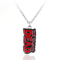 Vintage Enamel The Dead Walking Necklace Red Letter Walking Dead Necklace ChainFor Men Personalized Collier Party Gift