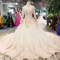 LSS188 cheap wedding dress pink flowers long sleeve lace A line simple wedding dress princess royal train lace up tulle back