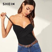 SHEIN Sexy camisola entallada, Top ajustado con tirantes, cuello en V, para Calle, Club, 2019 sólido básico, Camis