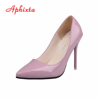 Aphixta Shoes Woman Super High Heel Pumps Red Thin Heels Women Shoes Wedding Party Leisure Nude