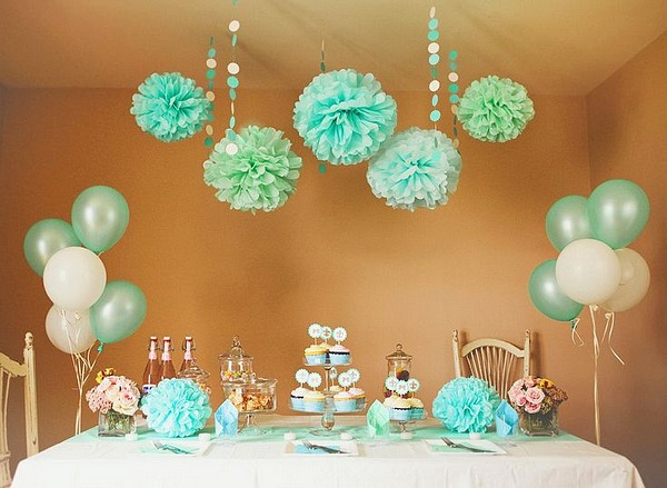mint pom pom 5pcs 20cm tissue paper pom poms flower balls party wedding home birthday tea - Party Decorations At Home