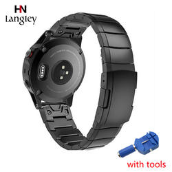20 мм 22 мм 26 мм Нержавеющаясталь ремешки для умных часов для Garmin Fenix 3/5/5X/5S простой и быстрый установить Fit звено Замена аксессуары
