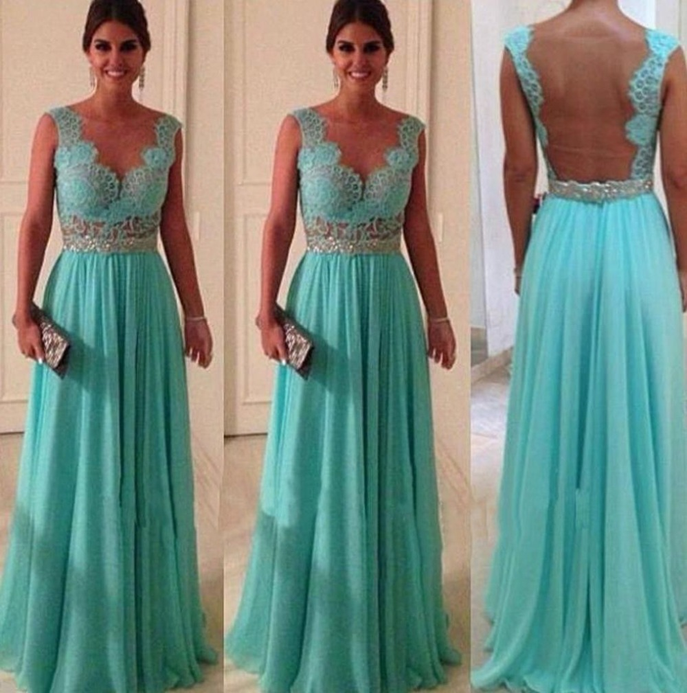 European and American style lake blue color sleeveless long lace ...