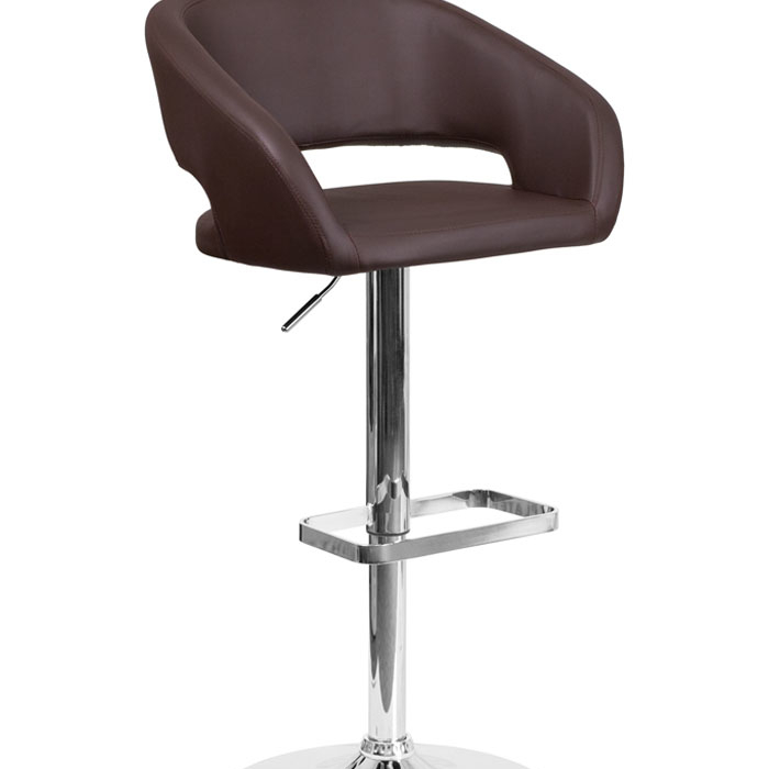 Flash Furniture Contemporary Brown Vinyl Upholstery Adjustable Height Swivel Seat Barstool with Chrome Base