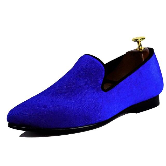 wholesale dealer 16202 3ddfb US $86.0 |Harpelunde Mens Pattini di Vestito Blu di Velluto Mocassini  Maschile Scarpe Da Sposa Calzature in Harpelunde Mens Pattini di Vestito  Blu di ...