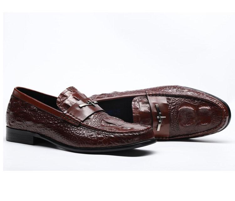 Mocassins Véritable Chaussures Pour Qyfcioufu vin Crocodile Homme Costume Motif Vache Rouge Décontracté Chaussure Cuir Noir Robe Italien Designer Hommes En Printemps Automne pzGVSMqU