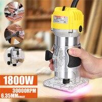 110 v/220 v 1800 w elétrica mão trimmer 6.35mm mão madeira corte de corte roteador máquina carpintaria laminador roteador ferramenta