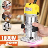 110V/220V 1800W Electric Hand Trimmer 6.35mm Hand Wood Router Trimming Cutting Carving Machine Woodworking Laminator Router Tool