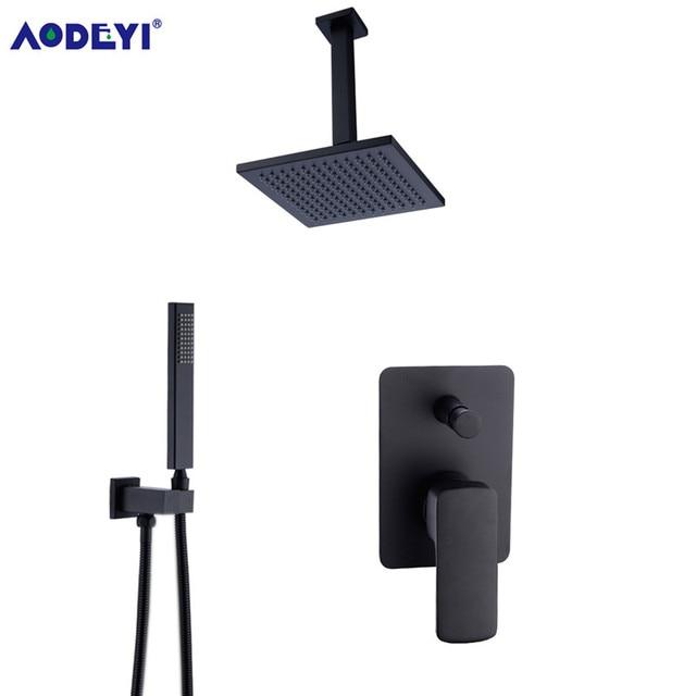 "Brass Square Black Shower Set Bathroom 8"" Rain Shower Head Faucet Ceiling Shower Arm Diverter Mixer Handheld Shower Spray Set"
