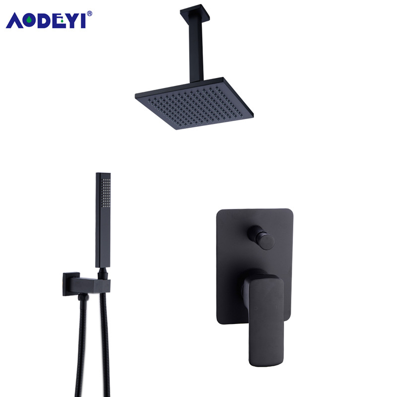 Brass Square Black Shower Set Bathroom 8 Rain Shower Head Faucet Ceiling Shower Arm Diverter Mixer Handheld Shower Spray Set