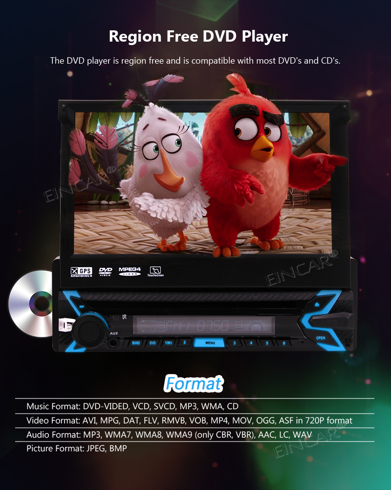 Clearance Capacitive Touch Screen Wince System Single 1 Din Car Stereo DVD Player Support GPS Navigation/USB/SD/Cam-in/Bluetooth/Steering 5