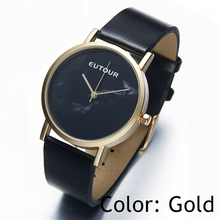 EUTOUR 2017 top reloj de Pulsera de oro de Las Señoras de las mujeres Simples de Mármol de Moda relojes de Cuarzo vestido de cuero Reloj de pulsera 38mm