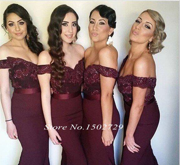 Aliexpress.com : Buy Burgundy Mermaid Bridesmaid Dresses Sexy Off ...